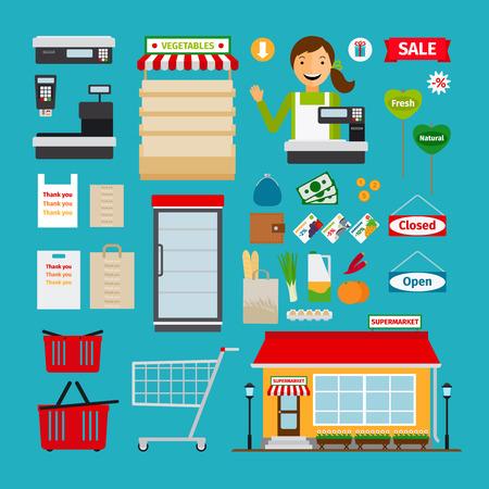 スーパー マーケットのアイコン。ストア、ショッピングの棚、カートとバスケット
