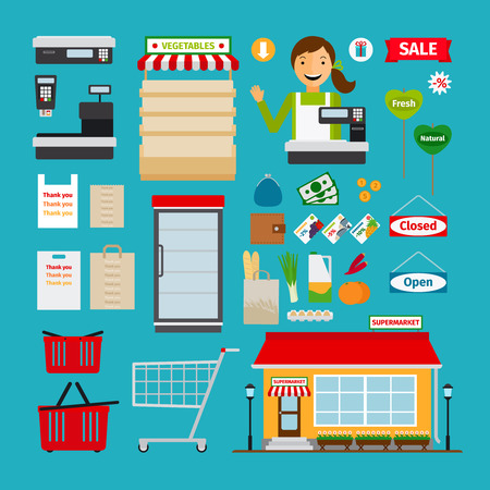 supermarket: Supermarket icons. Store and shopping shelves, cart and basket