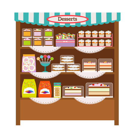 dessert: Showcase with desserts. Shop shelves with candy and sweets