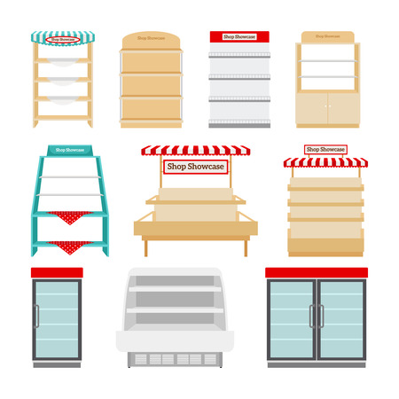 store display: Shop showcases, store shelves or market stalls set vector illustration