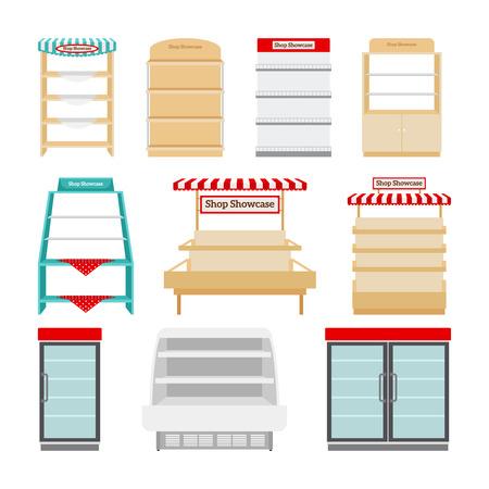 Shop showcases, store shelves or market stalls set vector illustration