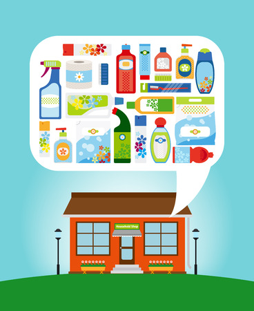 dry: Shop with collection of different household chemicals and cleaning supplies