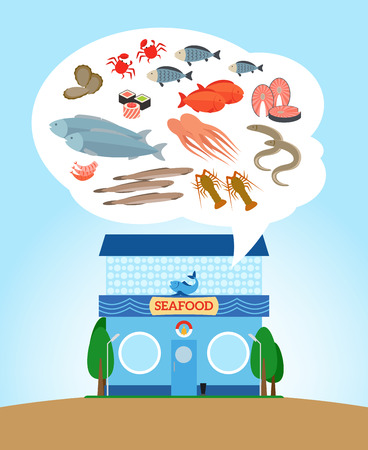 frozen fish: Fish and seafood store. Shop with healthy food Illustration