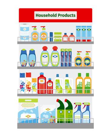 utiles de aseo personal: Escaparate con la limpieza del hogar y artículos de higiene ilustración vectorial Vectores