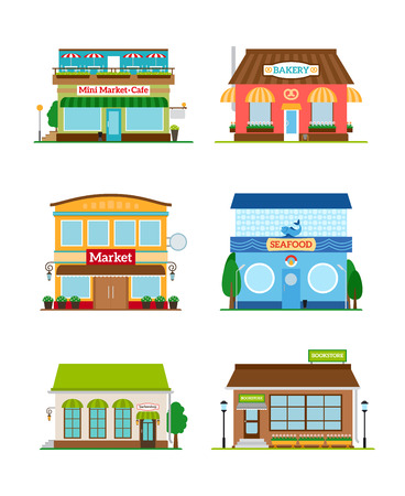 bakery: Shop store facade set. Bakery and bookstore, cafe and market