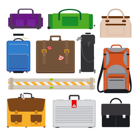 cases: Traveling Luggage flat icons. Cases and Bags vector icons