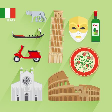 Italien Sehenswürdigkeiten von flachen Icons. Schiefen Turm und venezianischen Maske, Coliseum und Pizza