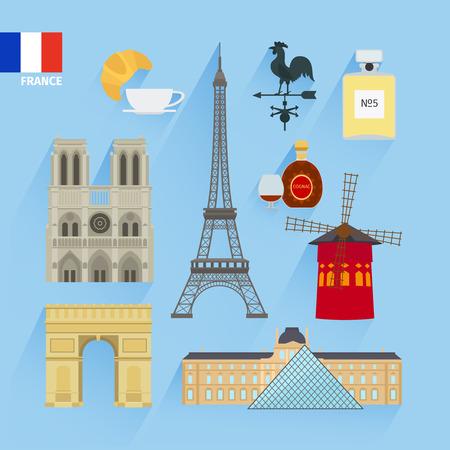Vector France flag and Paris landmarks flat icons