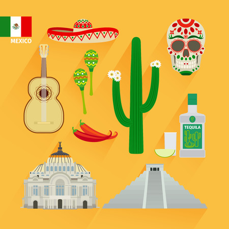 Mexico icons and flag in flat style