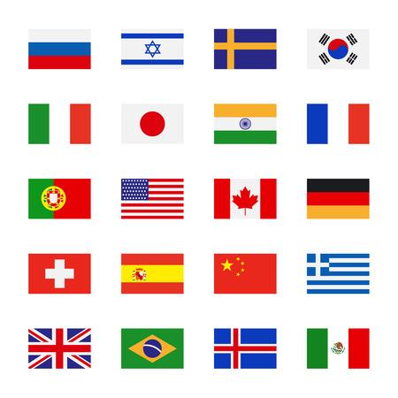 bandera uk: Banderas iconos de estilo plano. Banderas simples del vector de los países