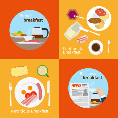 Breakfast concepts. Continental Breakfast and French Breakfast, Business Breakfast and Nutritious Breakfast