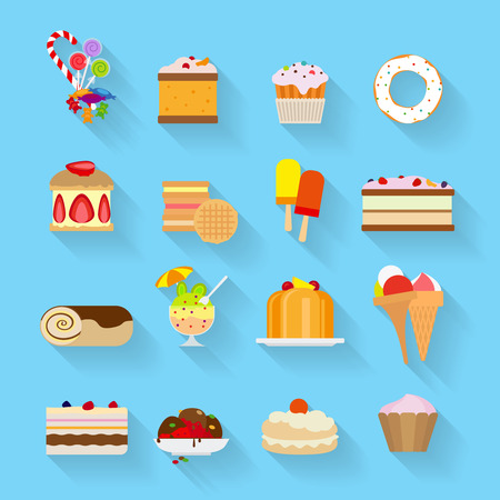 taffy: Vector Sweets and Candies flat icons with shadows