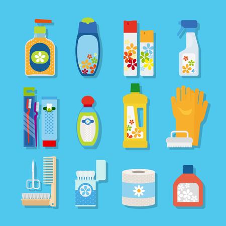inodoro: Higiene Vector y productos de limpieza iconos planos. Papel limpiador y aseo, pasta de dientes y desodorante