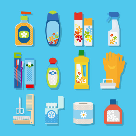Vector hygiene and cleaning products flat icons. Cleaner and toilet paper, toothpaste and deodorant Illustration