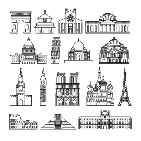 Monuments thin line icons.