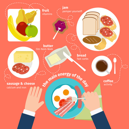 acids: Breakfast food and drinks icons in flat style. Vitamins, amino acids and nutrients