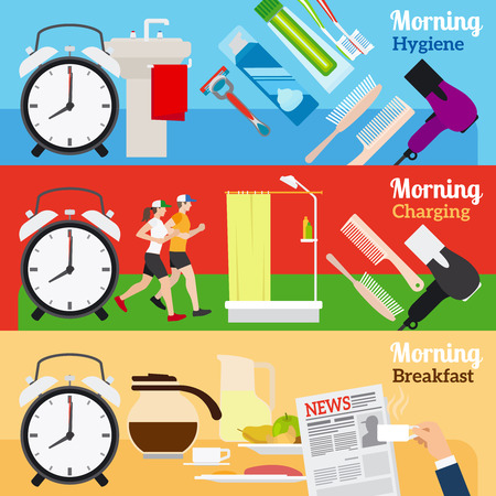 morning breakfast: Good Morning New Day Banners. Fitness and shower, breakfast and morning newspaper