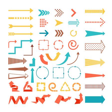 Pfeile und Richtungen Zeichen in flachen Stil.