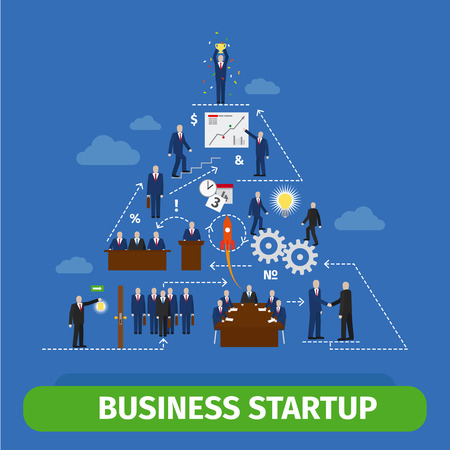 emprendimiento: Iniciar su actividad hasta la plantilla infograf�a pir�mide. Gente y engranajes esquema de interacci�n Vectores