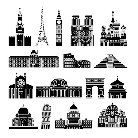 Travel Landmarks Vector Black Icons. Kremlin and Eiffel Tower, Big Ben and Notre Dame de Paris