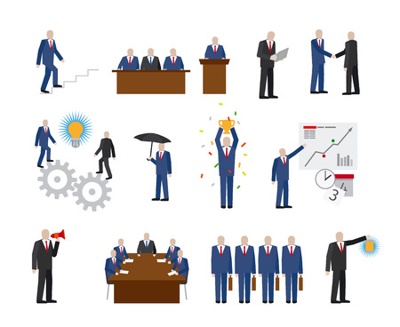 Business people in different poses in flat style