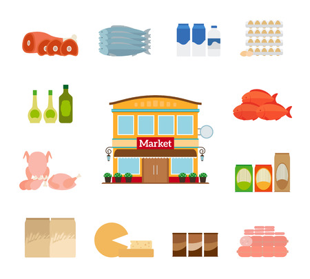 Grocery icons. Cheese and fish, chicken and milk. Grocery store icon Illustration