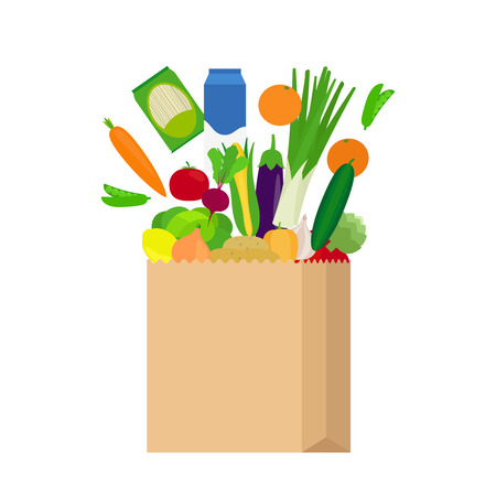 apples and oranges: Paper bag with fresh food products in flat style on white background vector illustration