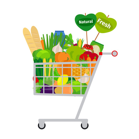 Supermarket shopping cart with fresh and natural food on white background