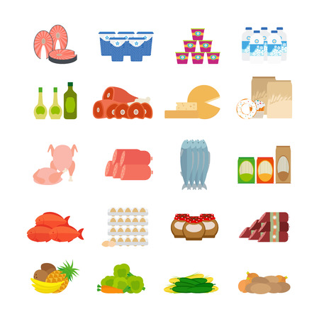 dairy products: Supermarket food flat icons. Dairy products and olive oil, fish and meat on white background