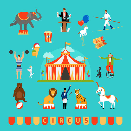circus performer: Circus and fun fair elements in modern flat style Illustration