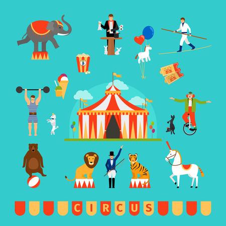 Circus en kermis elementen in moderne vlakke stijl Stock Illustratie