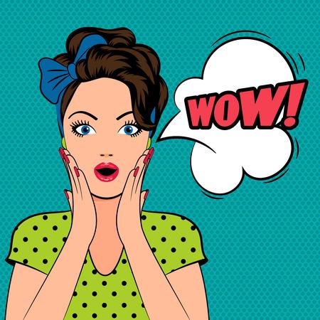 wow: WOW arte de la burbuja pop sorprendió cara de la mujer con la boca abierta Vectores