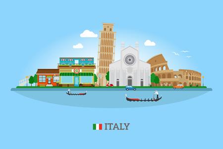Vector Italië skyline met bezienswaardigheden en de vlag van Italië voor het toerisme en reizen banners