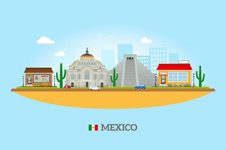 Mexico landmarks skyline. Mexican tourist attractions vector illustration Vettoriali