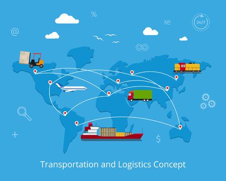 Logistica piatto concetto di trasporto globale. Trasporto marittimo e terrestre, ferroviario e del trasporto aereo su sfondo mappa del mondo