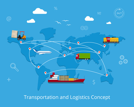 shipment: Logistics flat global transportation concept. Maritime and land transport, railway and air transport on world map background