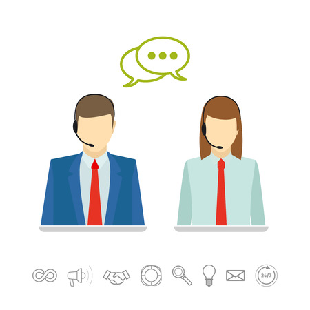 call center woman: Male and female wearing headsets call center avatars