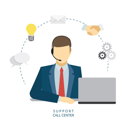 customer service phone: Technical support man operator flat vector icon