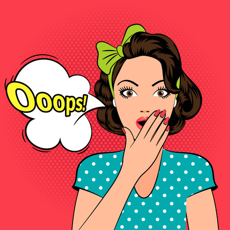 surprised: Ooops. Mujer asustada o sorprendida en estilo del arte pop