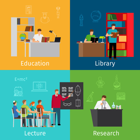 laboratory symbol: Education concepts. Learning and lectures, reading in library and research