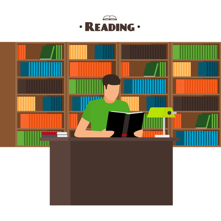 university life: Reading books flat style concept. Man sits and read your favorite book
