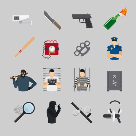 prisoner of the money: Crime icons in flat design. Offender and police, robbery and wanted Illustration