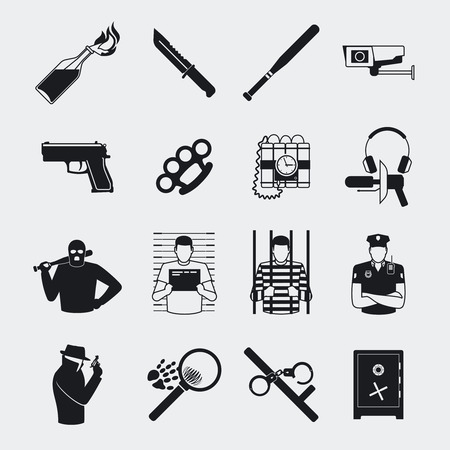 violation: Criminal and prison black icons. Riots and detention, Molotov cocktails and fingerprints