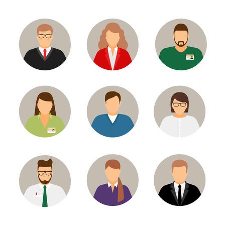 circulo de personas: avatares de negocios. Los machos y las hembras perfil del negocio de Fotografías