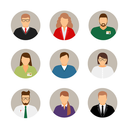 Businesspeople avatars. Males and females business profile pictures Çizim