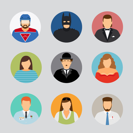 chaplin: Avatar icons in flat design. Film actor and superhero, hockey player and businessman