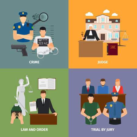 justicia: Conceptos de abogados con juicio con jurado y la casa de la justicia. Ilustración vectorial
