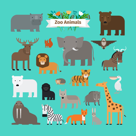 elk: Zoo Animals Flat Design Vector Icons. Lion and the elephant, giraffe and zebra isolated on blue