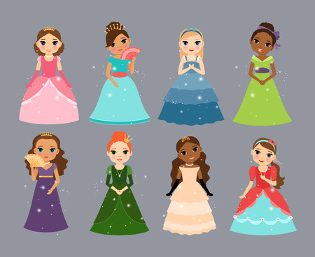 Beautiful princesses. Cute little fairy or queen characters vector illustration set Illustration