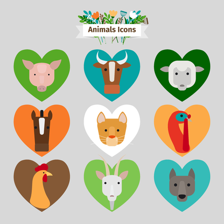 farm animals icons: Farm animals and pets avatars icons with ribbon and text